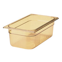 Rubbermaid FG210P00AMBR 1/4 Size Amber High Heat Food Pan - 2 1/2 inch Deep