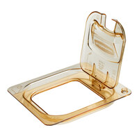 Rubbermaid 1842491 1/6 Size Amber Notched Flip Lid with Handle