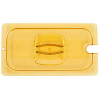 Rubbermaid FG221P86AMBR 1/3 Size Amber Notched High Heat Food Pan Lid with Handle