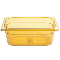 Rubbermaid FG211P00AMBR 1/4 Size Amber High Heat Food Pan - 4 inch Deep