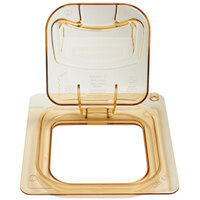 Rubbermaid 1842440 1/6 Size Amber Flip Lid with Peg Hole and Handle