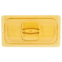 Rubbermaid FG221P23AMBR 1/3 Size Amber High Heat Food Pan Lid with Peg Hole and Handle