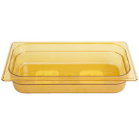 Rubbermaid FG216P00AMBR 1/3 Size Amber High Heat Food Pan - 2 1/2 inch Deep