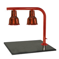 Hanson Heat Lamps FLD/BB/SC Dual Lamp 20 inch x 24 inch Smoked Copper Carving Station with Synthetic Granite Base
