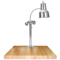 Hanson Heat Lamps SLM/MB-2424/CH Single Lamp 24 inch x 24 inch Chrome Carving Station with Maple Block Base