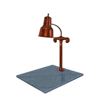 Hanson Heat Lamps SLM/GB/SC Single Lamp 18 inch x 20 inch Smoked Copper Carving Station with Natural Granite Base