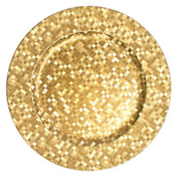 The Jay Companies 1427590BK 13 inch Round Gold Mosaic Plastic Charger Plate