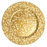 The Jay Companies 13 inch Round Gold Mosaic Polypropylene Charger Plate