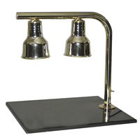 Hanson Brass FLD/BB/CH Dual Lamp 20 inch x 24 inch Chrome Carving Station with Synthetic Granite Base
