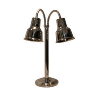 Hanson Brass DLM/600/ST Two Lamp Stainless Steel Freestanding Heat Lamp with Dual Bulbs and 600 Series Shades