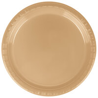 Creative Converting 28103011B 7 inch Glittering Gold Plastic Lunch Plate - 600 / Case