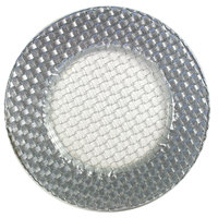 The Jay Companies 1470059 13 inch Round Glass Braid Silver Glitter Charger Plate