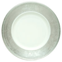 The Jay Companies A466HRK-W 13 inch Round Silver Rim Polypropylene Charger Plate