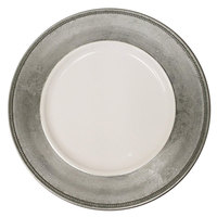 The Jay Companies A466HRK-W 13 inch Round Silver Rim Plastic Charger Plate