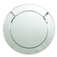 The Jay Companies 1330051 13 inch Round Glass Mirror Charger Plate