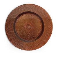 The Jay Companies 13 inch Round Pearl Spiral Brown Glass Charger Plate