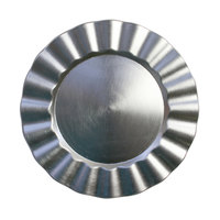 The Jay Companies 1183058 13 inch Round Silver Ruffled Rim Polypropylene Charger Plate