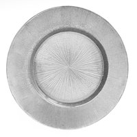 The Jay Companies 1900014 13 inch Round Glass Silver Burst Charger Plate