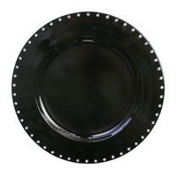 The Jay Companies A467BK 13 inch Round Black Jeweled Rim Polypropylene Charger Plate