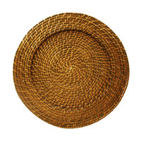 The Jay Companies 13 inch Round Amber Rattan Charger Plate