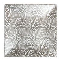 The Jay Companies 1427368BK-12 12 inch x 12 inch Square Silver Mosaic Polypropylene Charger Plate