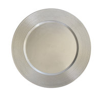 The Jay Companies 13 inch Round Silver Saturn Rim Polypropylene Charger Plate