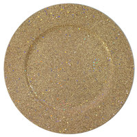 The Jay Companies 13 inch Round Gold Glitter Polypropylene Charger Plate