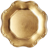 The Jay Companies A275GR 13 inch Round Gold Baroque Plastic Charger Plate