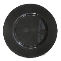 The Jay Companies 13 inch Round Glass Starburst Black Charger Plate