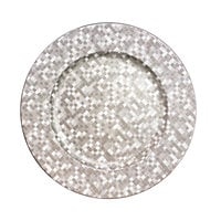 The Jay Companies 1427591BK 13 inch Round Silver Mosaic Plastic Charger Plate