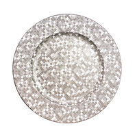 The Jay Companies 1427591BK 13 inch Round Silver Mosaic Polypropylene Charger Plate