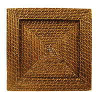 The Jay Companies 13 inch x 13 inch Square Honey Rattan Charger Plate