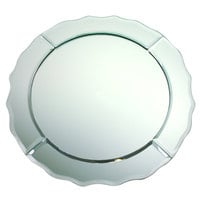 The Jay Companies 1330020 13 inch Round Scalloped Edge Glass Mirror Charger Plate