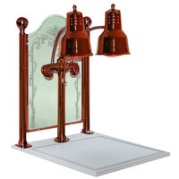 Hanson Heat Lamps DLM/CC/WB/SC Dual Bulb 20 inch x 24 inch Smoked Copper Carving Display with White Solid Surface Base and Sneeze Guard