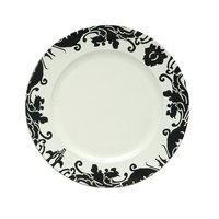 The Jay Companies 28A31E-XW 13 inch Round Black Damask Rim Plastic Charger Plate