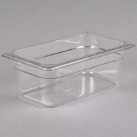 Cambro 44CW135 Camwear 1/4 Size Clear Polycarbonate Food Pan - 4 inch Deep