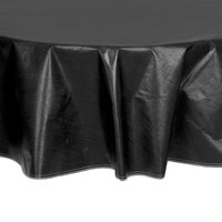 Intedge 60 inch Round Black Vinyl Table Cover with Flannel Back
