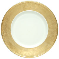 The Jay Companies A466GRK-W 13 inch Round Gold Rim Plastic Charger Plate