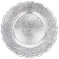 The Jay Companies A215HR 13 inch Round Silver Regency Plastic Charger Plate
