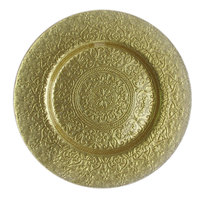 The Jay Companies 13 inch Round Alinea Gold Glass Charger Plate