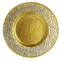 The Jay Companies 1944007 13 inch Round Baroque Scroll Silver/Gold Glass Charger Plate