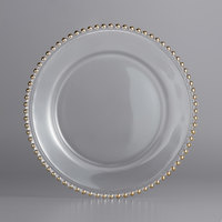 The Jay Companies 1900007 13 inch Round Gold Beaded Glass Charger Plate