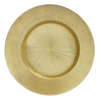 The Jay Companies 1900013 13 inch Round Glass Gold Burst Charger Plate