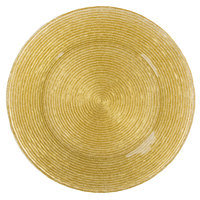 The Jay Companies 13 inch Round Circus Gold Glass Charger Plate
