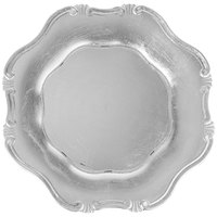 The Jay Companies A275HR 13 inch Round Silver Baroque Plastic Charger Plate