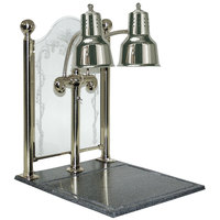 Hanson Heat Lamps DLM/CC/BB/CH Dual Bulb 20 inch x 24 inch Chrome Carving Display with Synthetic Granite Base and Sneeze Guard