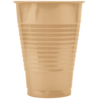 Creative Converting 28103071 12 oz. Glittering Gold Solid Plastic Cup - 240 / Case