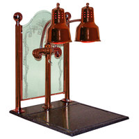 Hanson Heat Lamps DLM/CC/BB/SC Dual Bulb 20 inch x 24 inch Smoked Copper Carving Display with Synthetic Granite Base and Sneeze Guard
