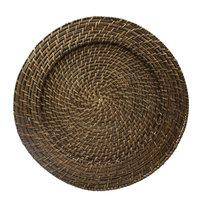 The Jay Companies 13 inch Round Brick Brown Rattan Charger Plate
