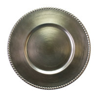 The Jay Companies A214SR 13 inch Round Platinum Rope Rim Plastic Charger Plate